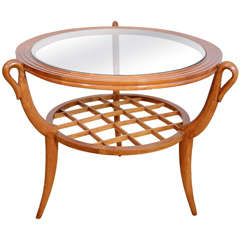 Two-Tiered Italian Gio Ponti Style Wood and Glass Occasional Table