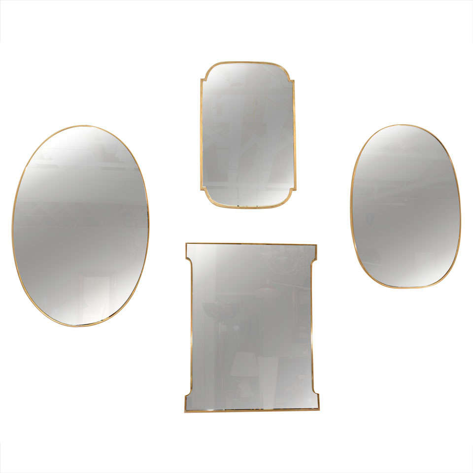Small oval brass framed mirror italy c 1950 39 s at 1stdibs for Small wall mirrors
