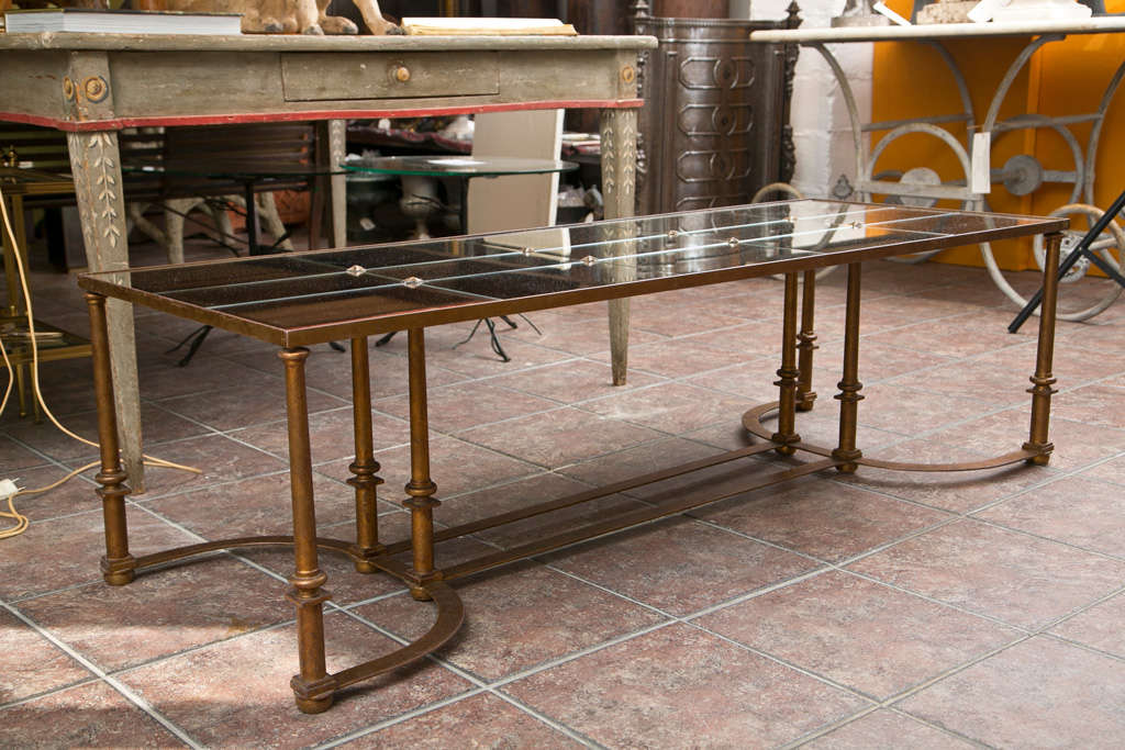 Long Coffee Table with Bow Metal Base For Sale 4