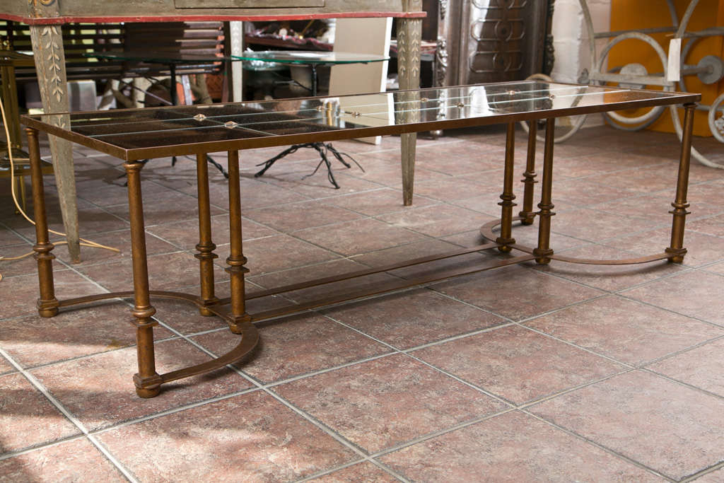 French Long Coffee Table with Bow Metal Base For Sale