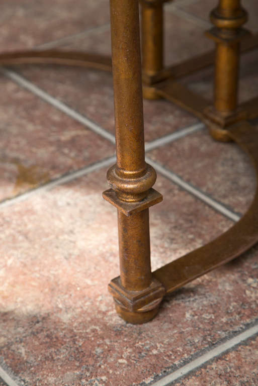 Long Coffee Table with Bow Metal Base For Sale 1