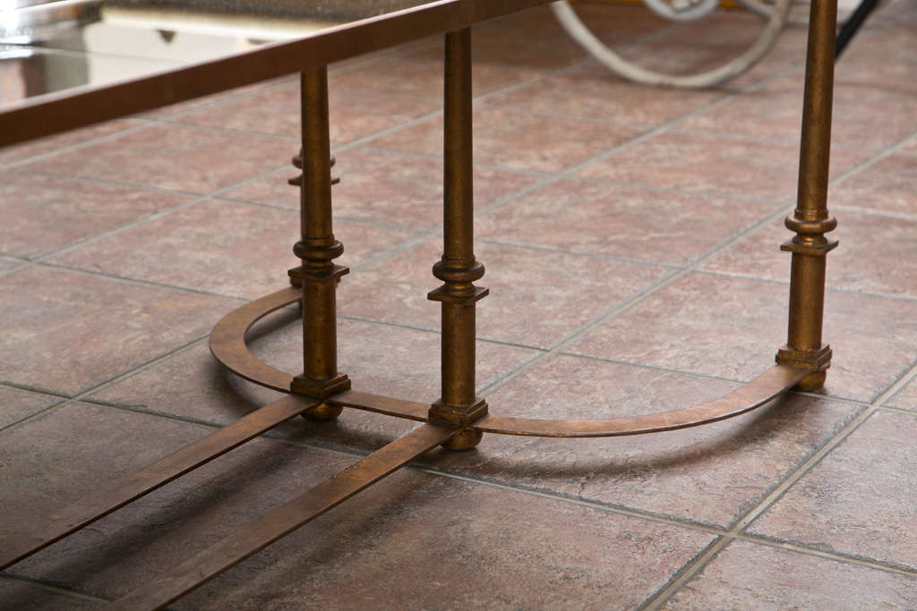 Long Coffee Table with Bow Metal Base For Sale 2