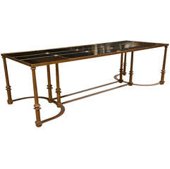 Long Coffee Table with Bow Metal Base
