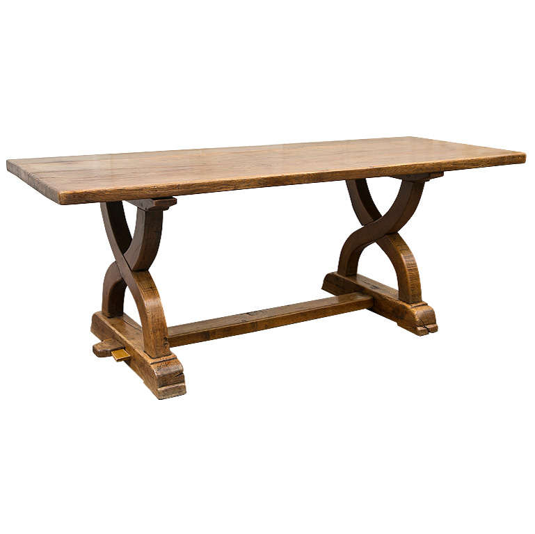 Solid Oak Trestle Table For