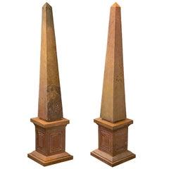 Pair of Caramel Marble Obelisks
