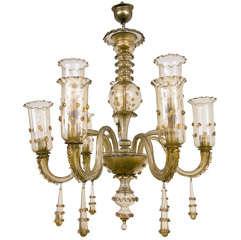 Murano Chamagne Glass Nine Arm Chandelier