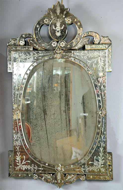 Pair Of Venetian Style Etched Glass Mirrors At 1stdibs