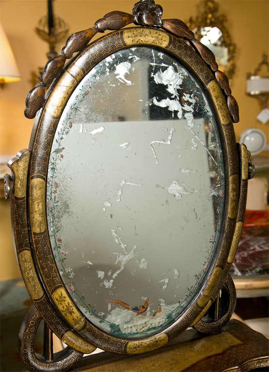 Attractive 19th Century Oriental Vanity Table Mirror For Sale 1