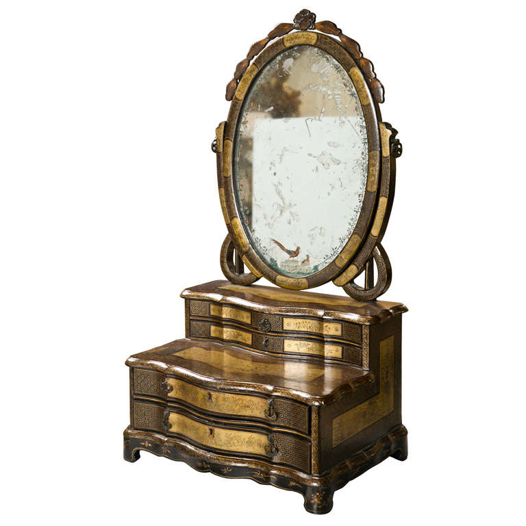 Attractive 19th Century Oriental Vanity Table Mirror 1