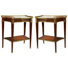 Pair of French Louis XVI Style Mahogany Side Tables by Jansen