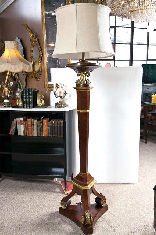 French Bronze Empire Style Mahogany Floor Lamp For Sale 6