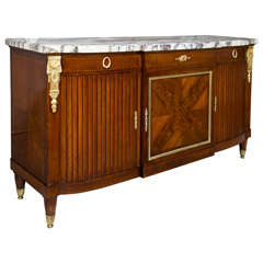 French Louis XVI Style Marble Top Mahogany Sideboard