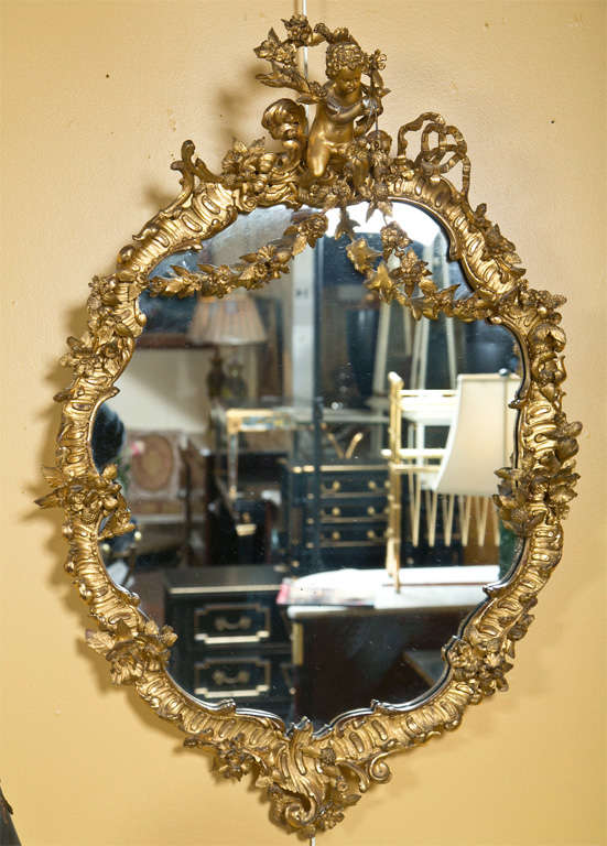 French Art Nouveau Style Giltwood Mirror 8