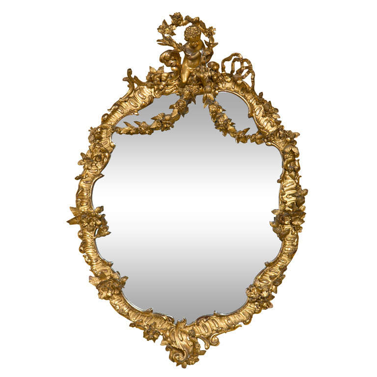 French Art Nouveau Style Giltwood Mirror 1