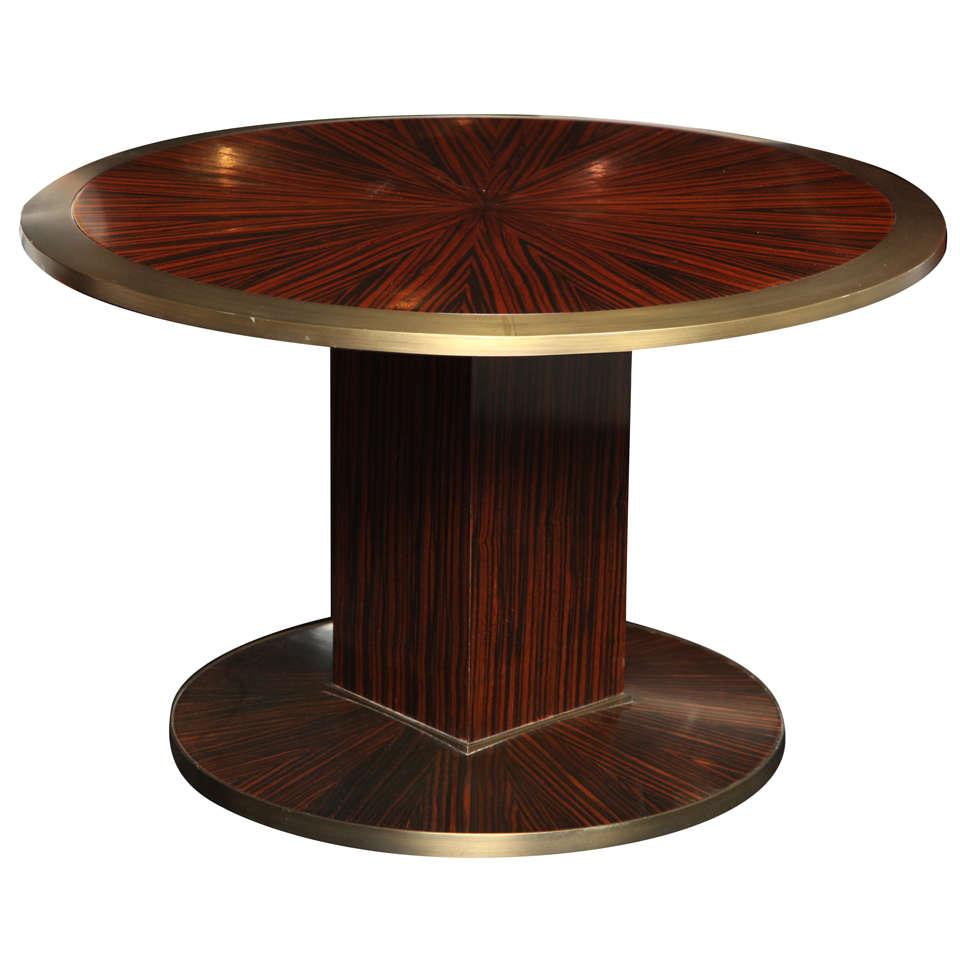 Macassar and Ebony Pedestal Table