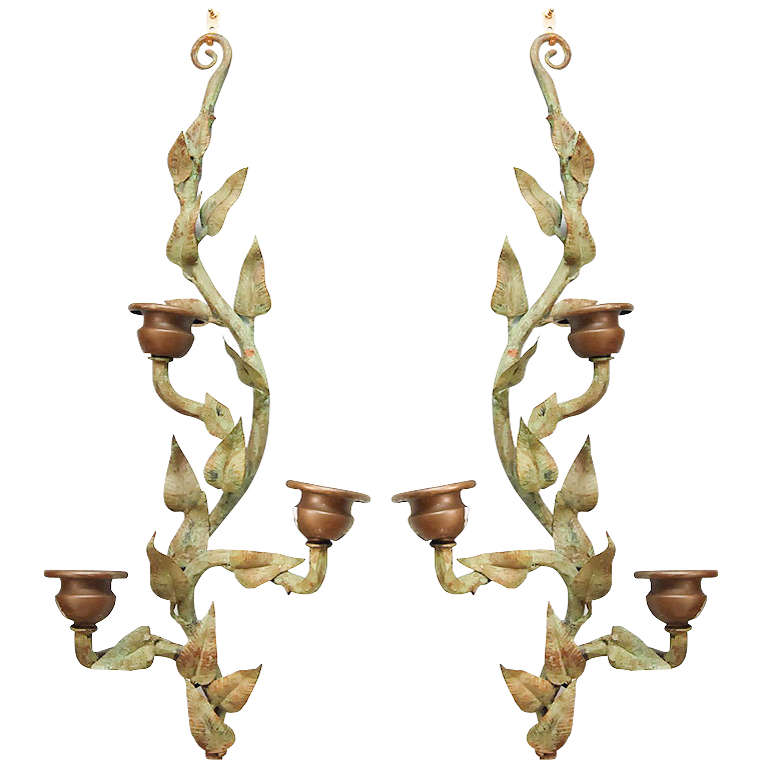 Wall Sconces With Vines : Colefax and Fowler Patinated Bronze Vine-form Wall Sconces at 1stdibs