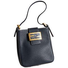 Fendi Navy Blue Leather Pochette Handbag