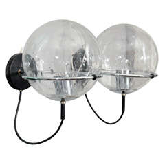 Pair of 1970's RAAK Clear Globe Sconces