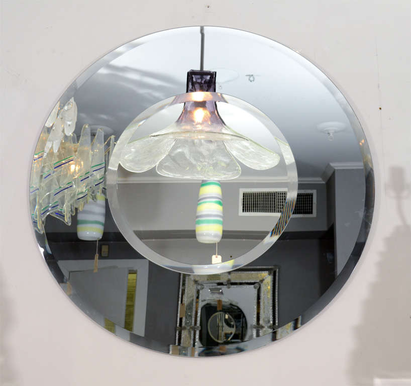 American Custom Round Mirror with Smoke Glass Border For Sale