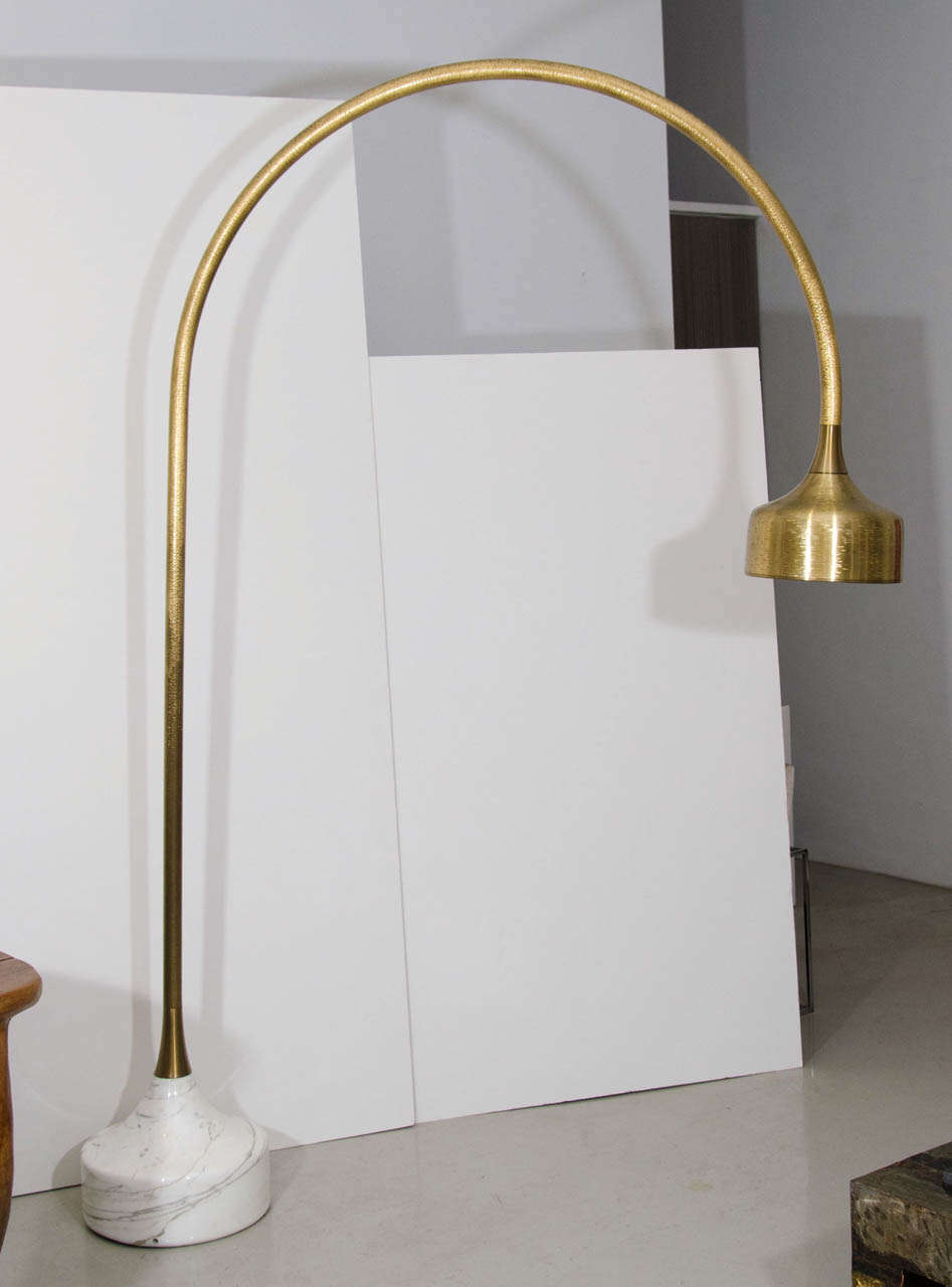 Vintage brass and marble three arm arc floor lamp at 1stdibs - Luciano Frigerio Marble Base Golden Arc Floor Lamp 2
