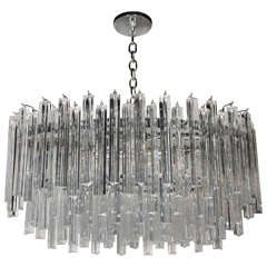 Mid-Century Modernist Oval Multi-Tiered Camer Crystal Chandelier