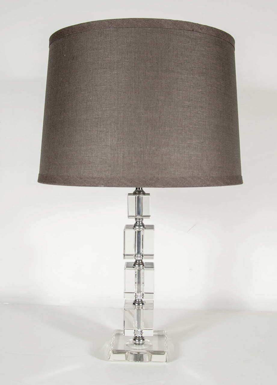 Pair Of Elegant Art Deco Cut Crystal Stacked Cube Lamps At