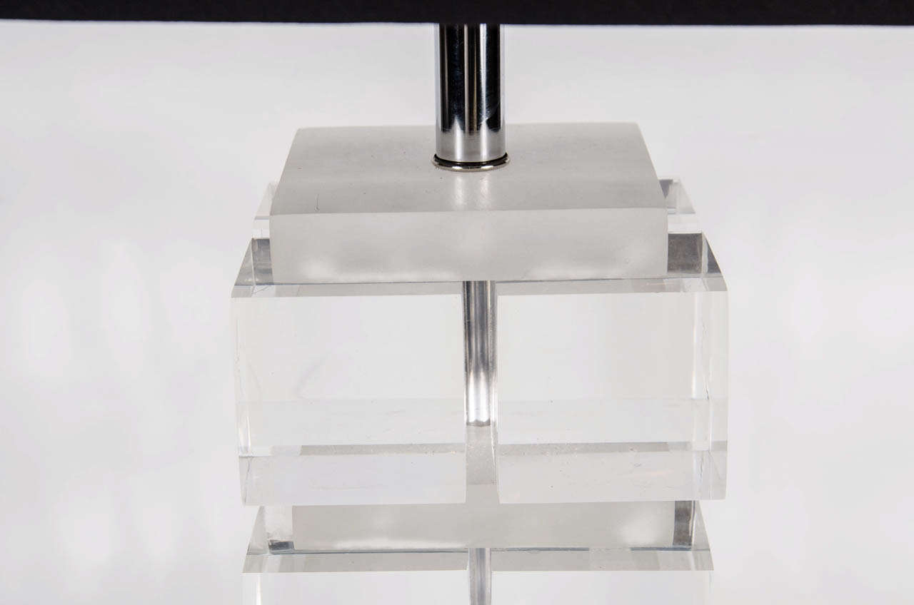 American Mid-Century Modern Lucite and Nickel Cube Lamp in the Manner of Karl Springer For Sale