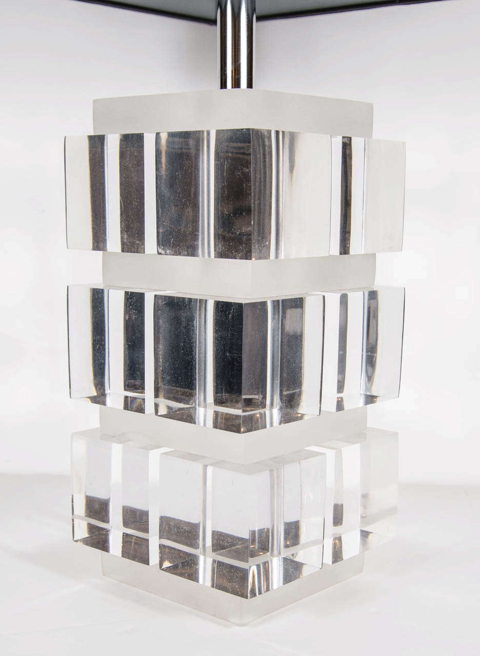 Late 20th Century Mid-Century Modern Lucite and Nickel Cube Lamp in the Manner of Karl Springer For Sale