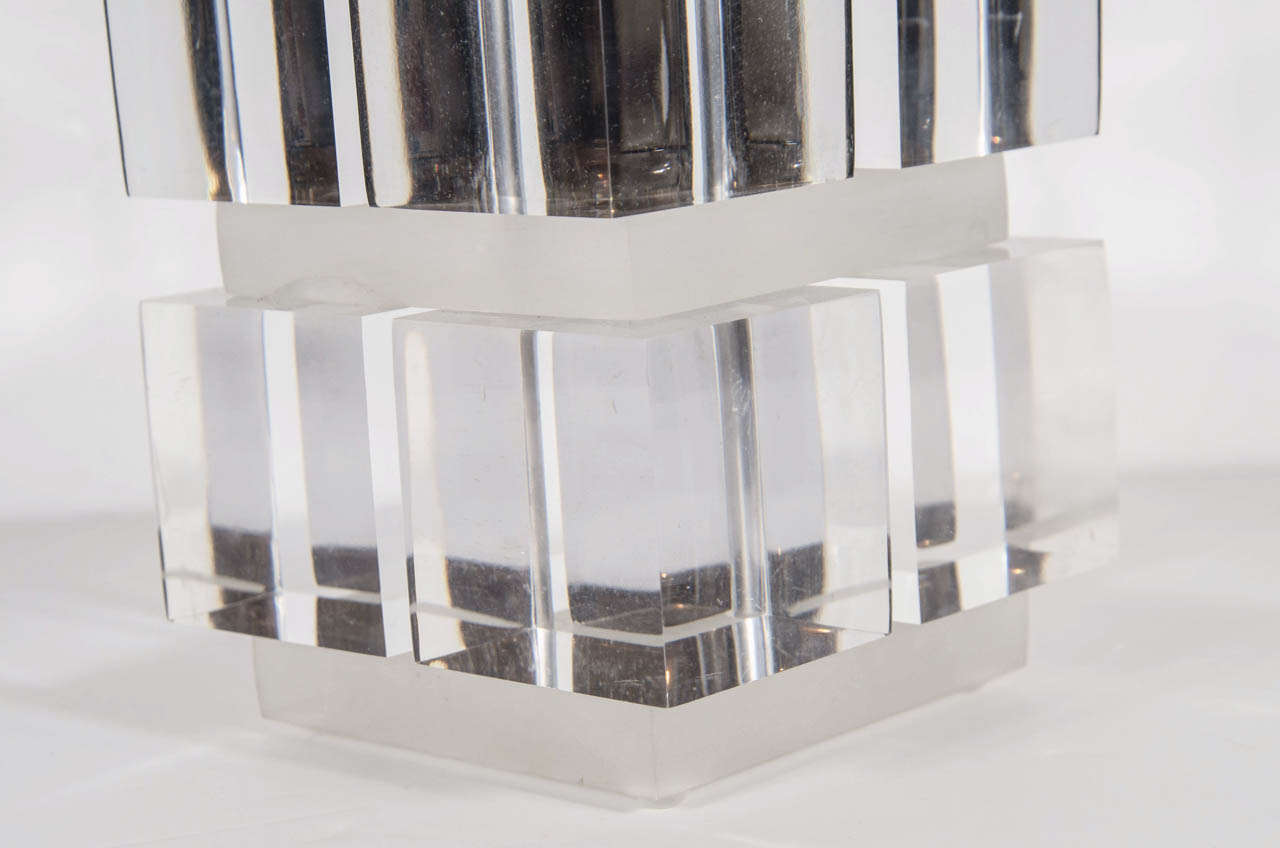 Mid-Century Modern Lucite and Nickel Cube Lamp in the Manner of Karl Springer For Sale 1