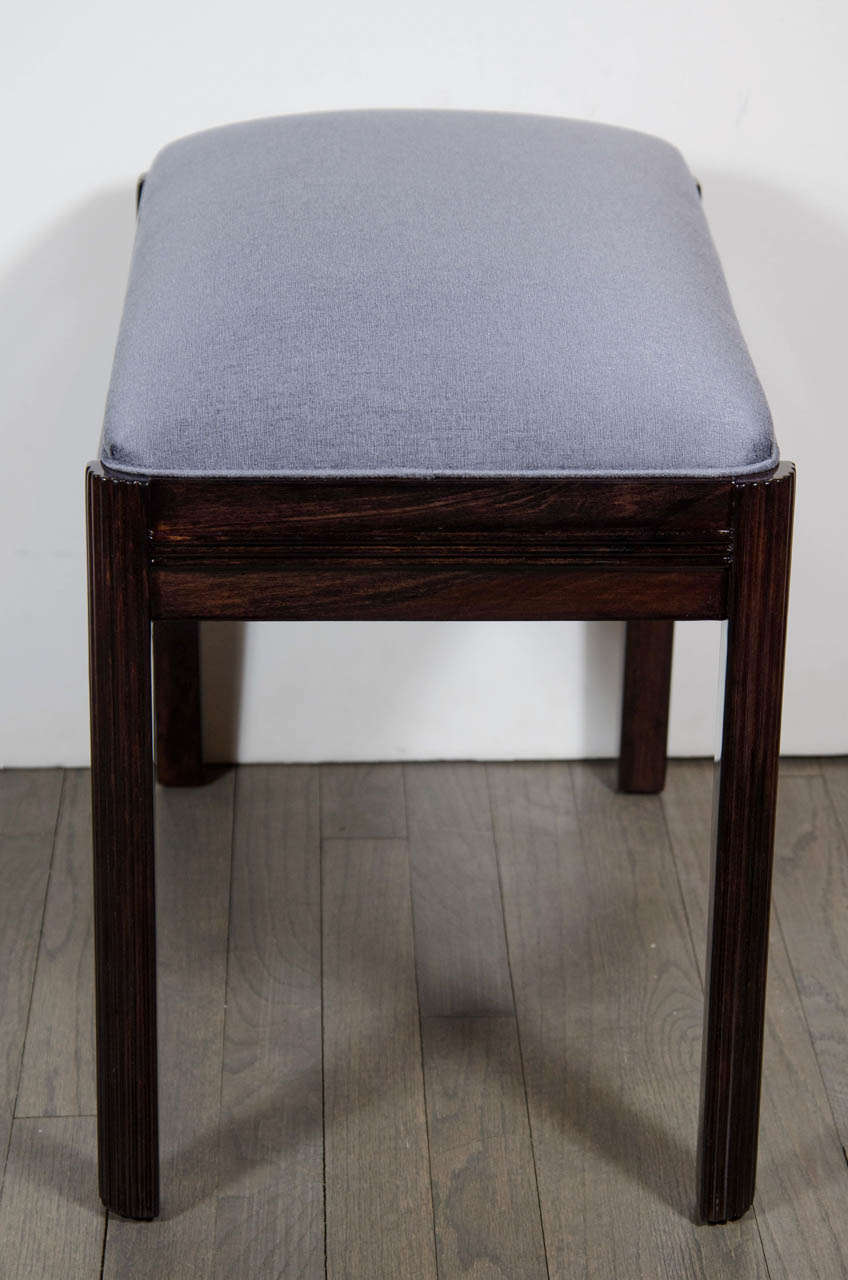 Machine Age Art Deco Bench Stool With Fluted Leg Detail At