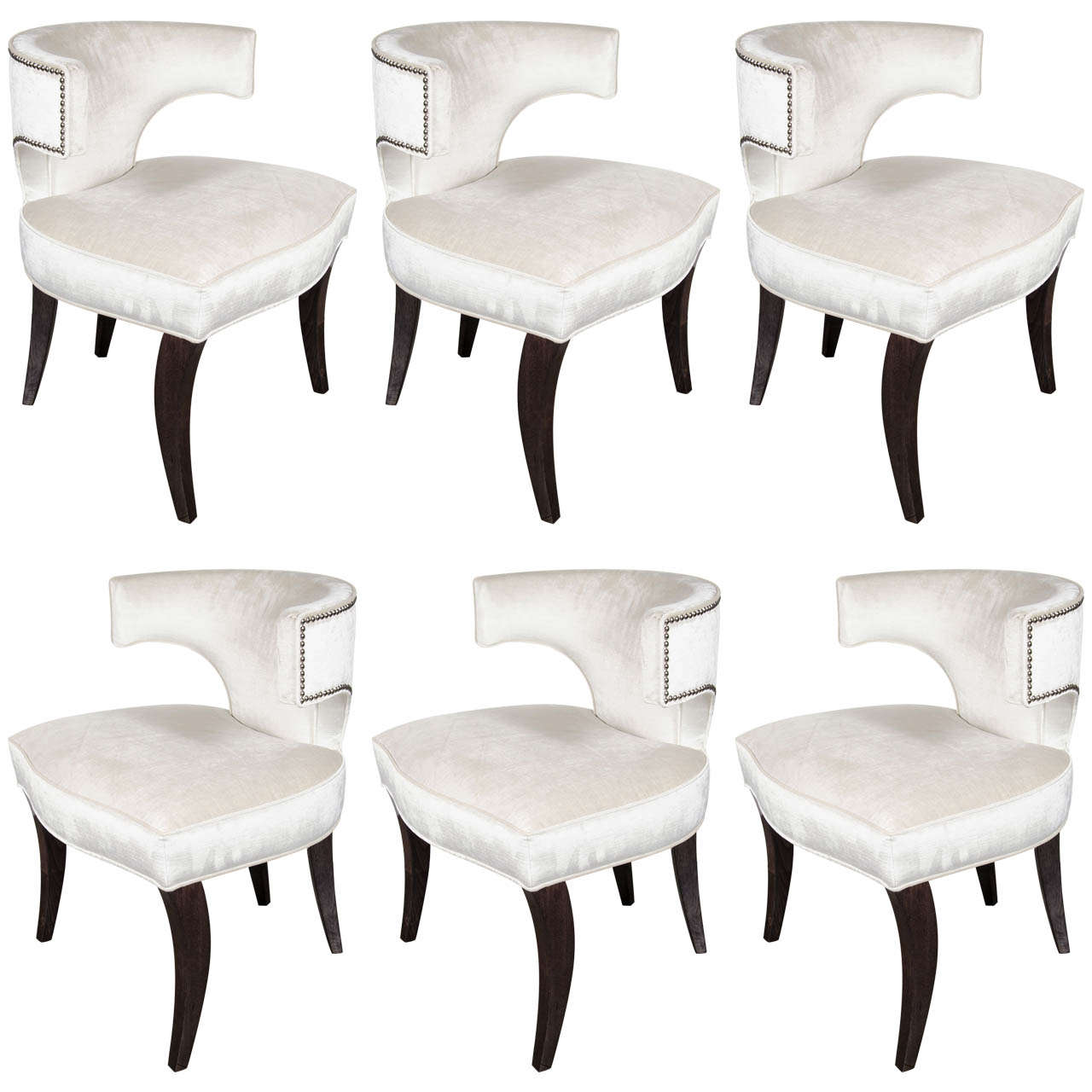 Beau Lux Set Of Six Klismos Dining Chairs By Modernage For Sale