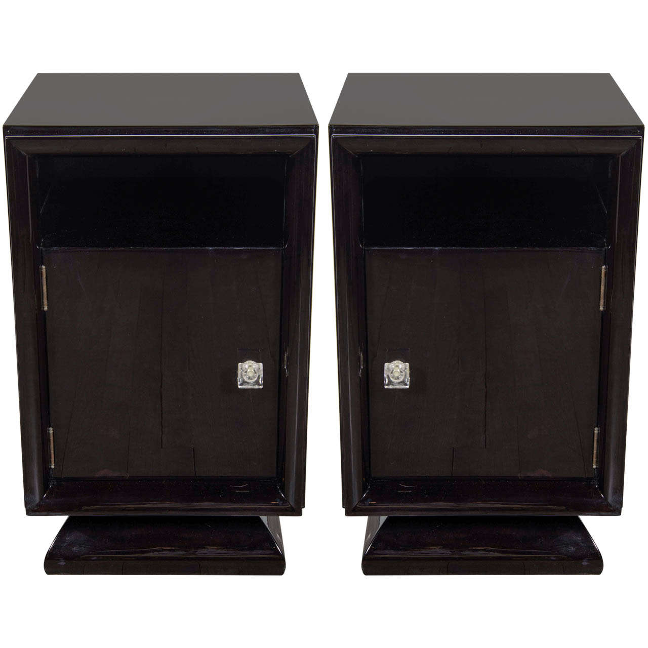 Pair of Mid-Century Modernist Plinth Base Nightstands / End Tables