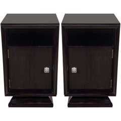 Pair of Mid-Century Modern Plinth Base Ebonized Walnut Nightstands / End Tables