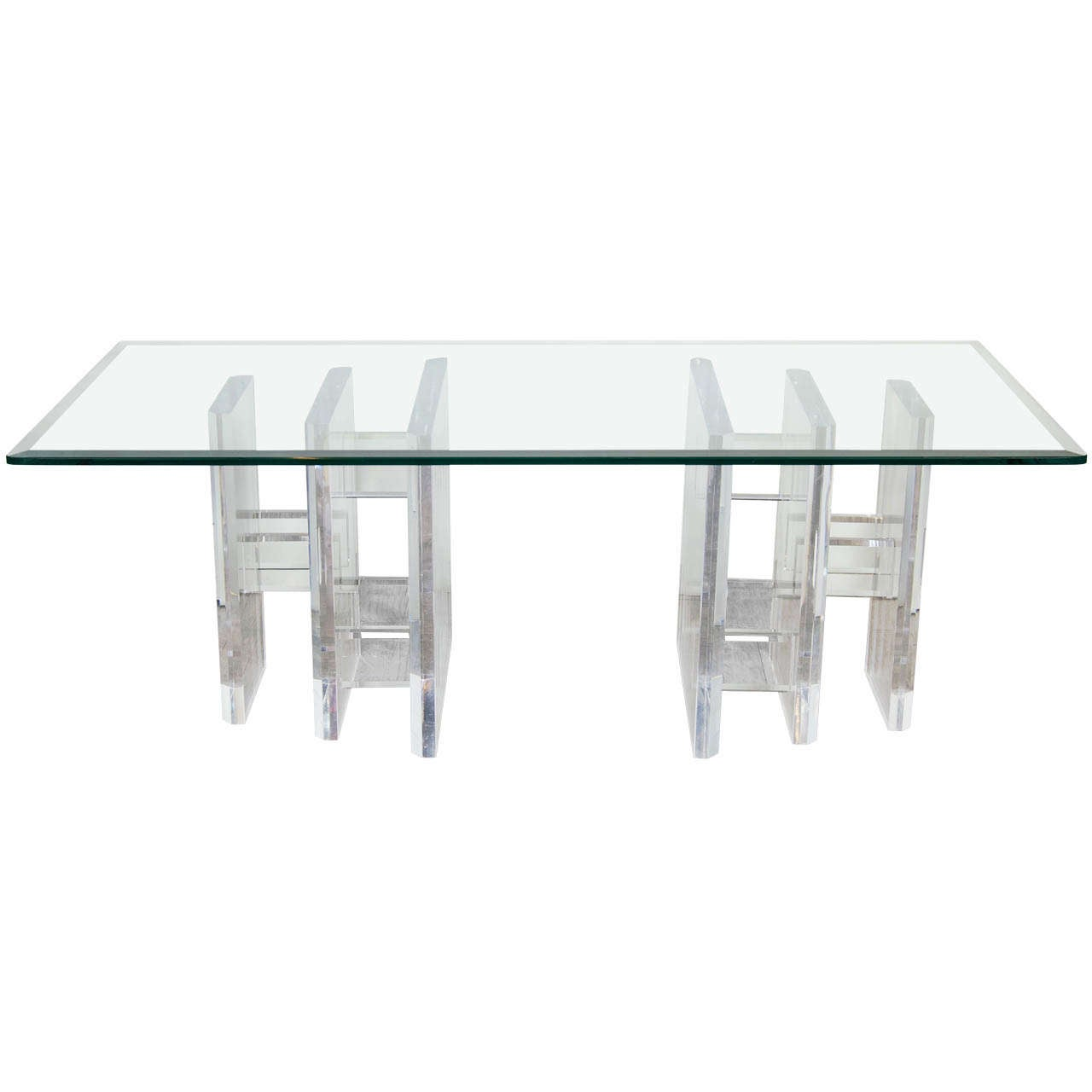 Sophisticated Mid-Century Modern Lucite and Glass Cocktail Table