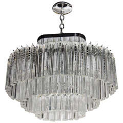 Modernist Oval Race Track Form Three Tiered Camer Crystal Chandelier
