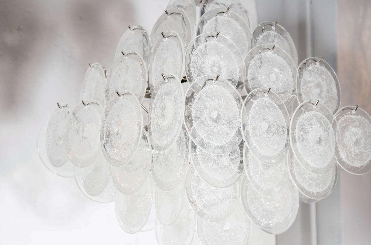 Italian Modernist Handblown Translucent Murano Glass Disc Vistosi Pagoda Chandelier For Sale