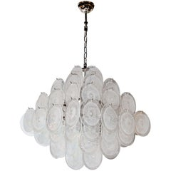 Modernist Handblown Translucent Murano Glass Disc Vistosi Pagoda Chandelier