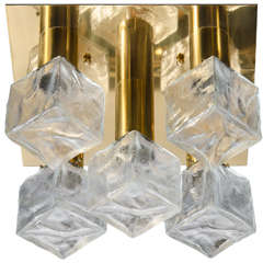 Mid-Century Modern Frosted Cube and Polished Brass Flush Mount by J.T. Kalmar