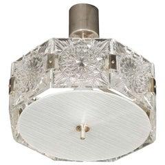 Mid Century Modernist Sunburst Design Etched Glass Chandelier by Kinkeldey