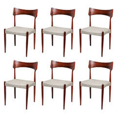 Modern Rosewood Dining Chairs, Set of Six