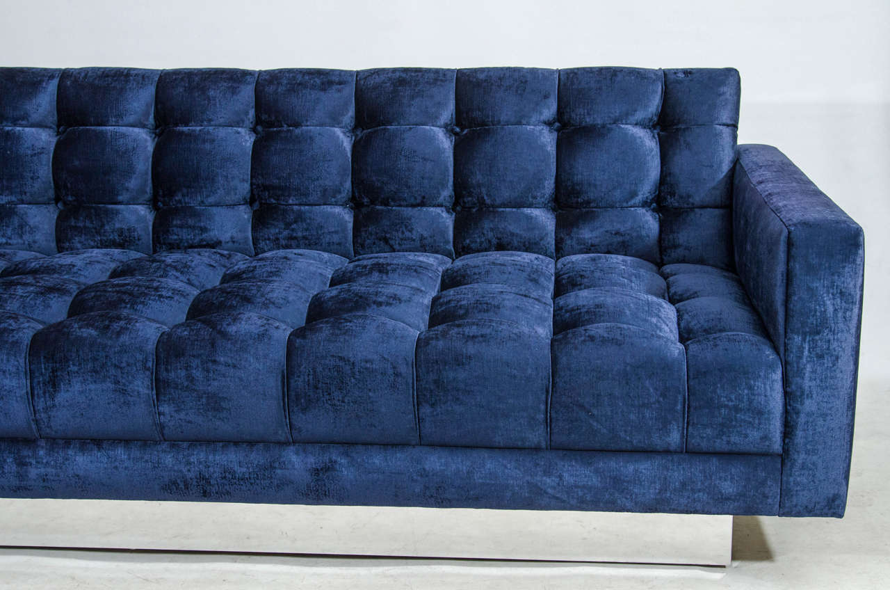 Gorgeous velvet floating tufted sofa for sale at 1stdibs for Tufted couches for sale
