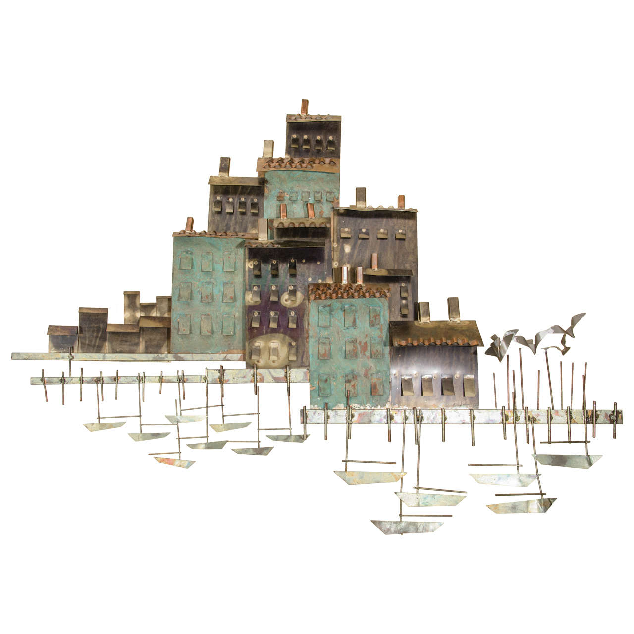 Charming Curtis Jere Wall Sculpture of a Harbor Village and Fishing Boats