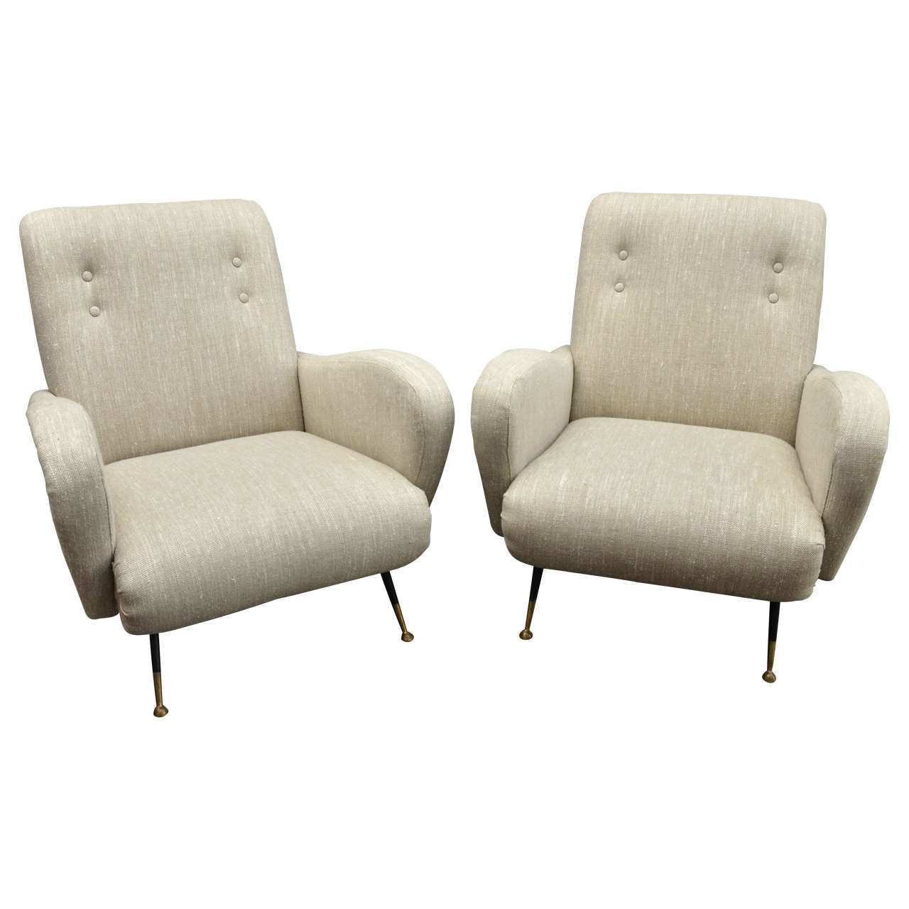 Pair Of Gio Ponti Style Club Chairs At 1stdibs