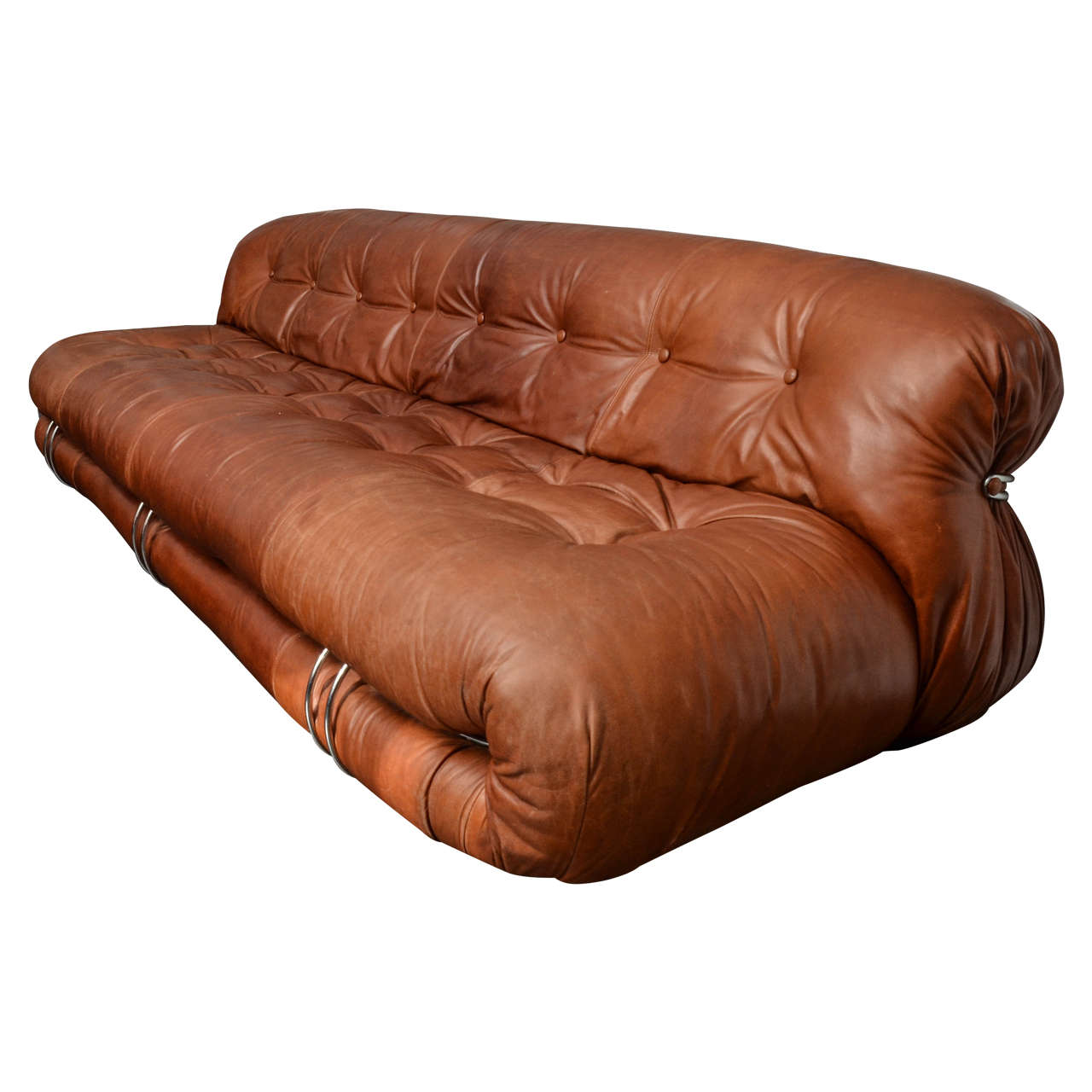 "Soriana"" Tufted Leather Sofa by Tobia Scarpa at 1stdibs"