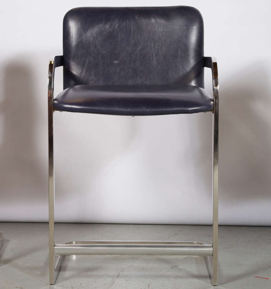 Counter Bar Stools Attributed To Milo Baughman At 1stdibs