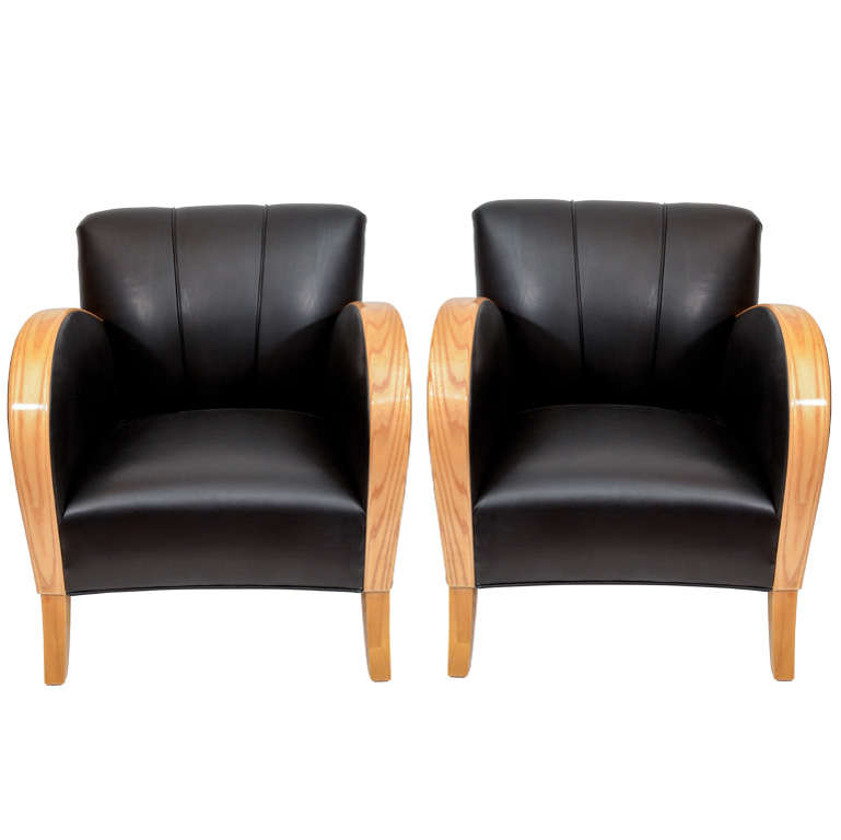 Art Deco Club Chairs in Black Motorcycle Leather For Sale