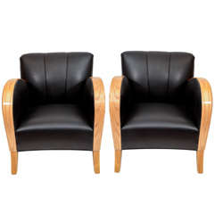 Art Deco Club Chairs in Black Motorcycle Leather