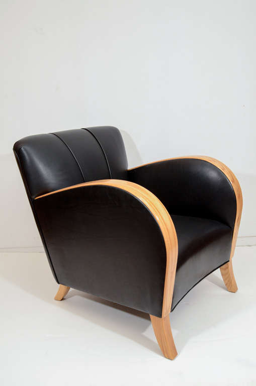 Art Deco Club Chairs in Black Motorcycle Leather In Good Condition For Sale In New York, NY