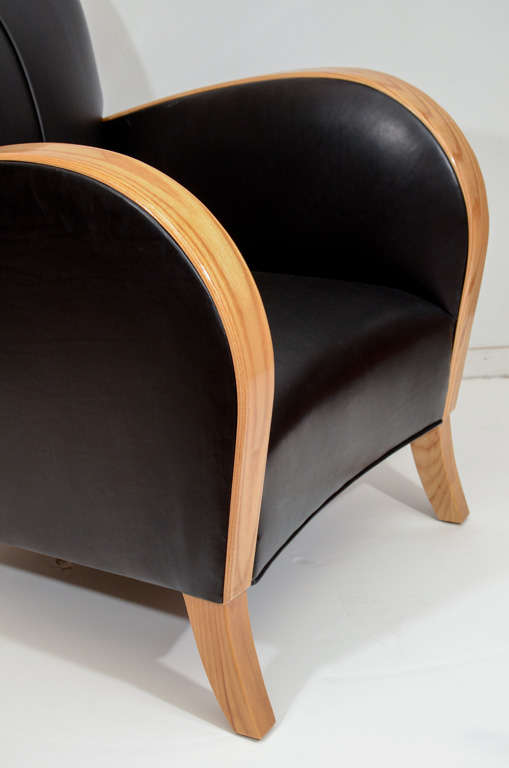 Mid-20th Century Art Deco Club Chairs in Black Motorcycle Leather For Sale