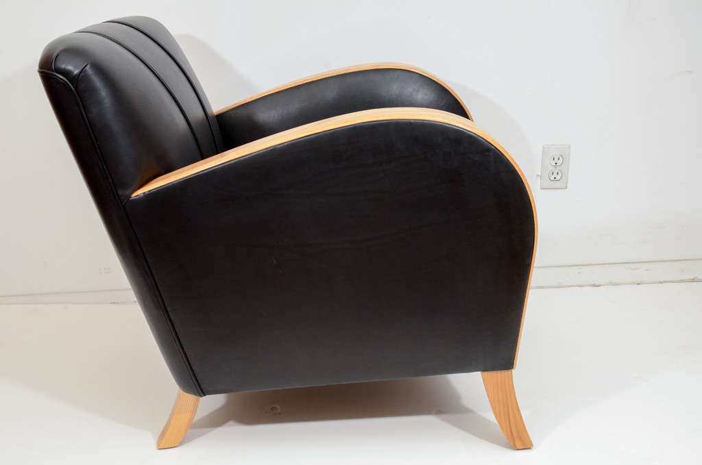 Art Deco Club Chairs in Black Motorcycle Leather For Sale 1